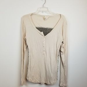 Andrea Jovine lace floral back long sleeve tee